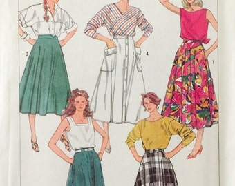 Simplicity 7502, Size 10-12-14, Misses' Full or Half-Circle Skirts in Two Lengths Pattern, UNCUT, Vintage 1986, Button Down Skirt, Retro