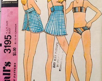 McCall's 3195 Young Junior/Teen Swim Suits Pattern, UNCUT, Size 11/12, Vintage 1972, Retro, Swim Wear, Summer, Fun, Lined Bra, Lined Bikini