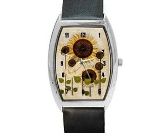 Unique Barrel-style Sunflower Watch