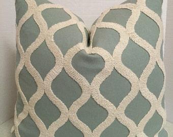 20 x 20 Pillow Cover Haviland Spa aqua Robins egg blue Sea Green