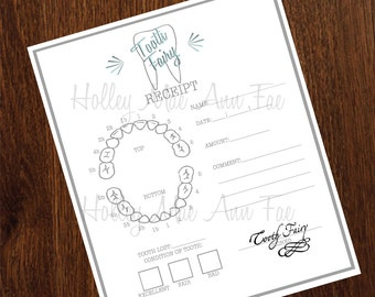 Tooth Fairy Receipt Instant Download