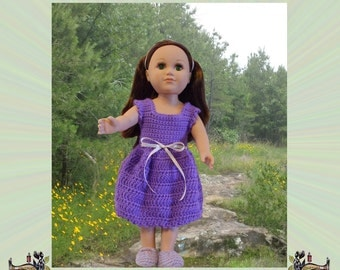 Crochet Sundress Pattern for 18 Inch Dolls, Sleeveless Doll Party Dress, Digital File, Gifts for Girls, The Granny Squared Original
