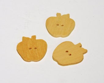 Wood Apple Buttons, Vintage Unfinished Wooden 2 Hole Apple-Shape Buttons, Sewing, Knitting, Craft Embellishments set of 3 itsyourcountry