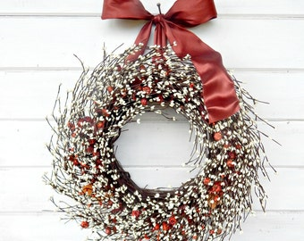 Fall Wreath-Fall Berry Wreath-RUSTIC Mini PUMPKIN Wreath-ORANGE Door Wreath-Autumn Wreath-Fall Home Decor-Choose Made-Scented Wreaths