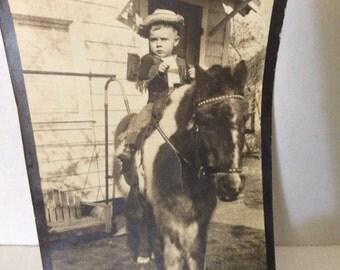 Vintage Bronco Boy on Pony Photo, Longview , Texas