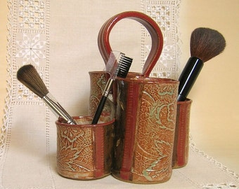 Utensil Holder, Make Up Brush Holder, Craft Tool Organizer, Paint Brush and Drawing Pencil Caddy, Office Desk Organizer, Brown, Red, Orange