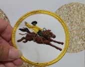 Vintage Horse Rodeo / Racing Brown Embroidered Patch - 1970s era.  Sew On Patch