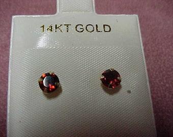3 Pairs Vintage Gemstone Earrings, Garnet, Amethyst, Citrine, 2.40 CTW, 14K Yellow Gold
