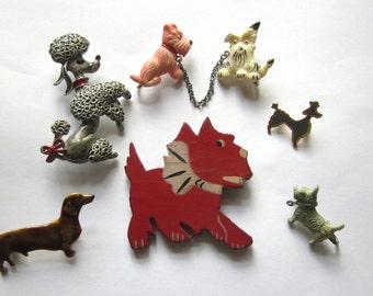 DOG Poodle Scottie PIN BROOCH Lot Scotty Dachshund Enamel Celluloid & More Vintage
