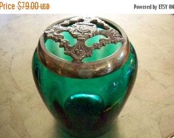 ON SALE FENTON Emerald Green Glass Flower Arranger Jar With Brass Trim Lid Floral Jar Vase