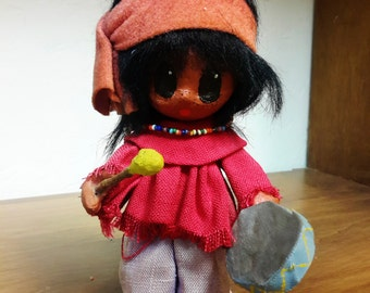 NATIVE AMERICAN DOLL Paper Mache 1960's LiL Luv Pima / Navajo Indian Drummer Boy With Glass Beaded Necklace Hand Crafted Doll