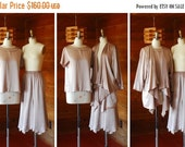 20% off SALE vintage three piece silk set / draped oversized silk jacket blouse and skirt / size small medium