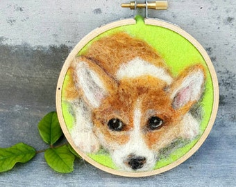 Corgi painting wool portrait, needle felted pet art, ready to hang tiny wall art, artist felted, original painting, dog picture, corgi puppy