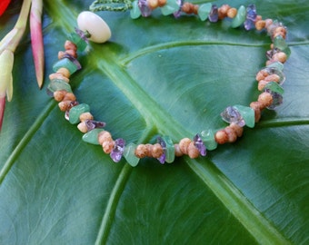 Aventurine Anklet Amethyst Shell Anklet Puka Shell Clasp Beach Handmade Island Style Mermaids - Made On Kauai Kauai Hawaiian Shell Jewelry
