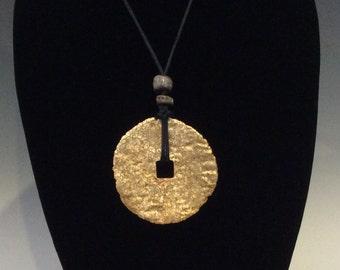 Contemporary Gold Leaf Pendant Necklace