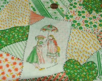 Holly Hobbie Vintage Cotton Blend Fabric 2 yards by Manes