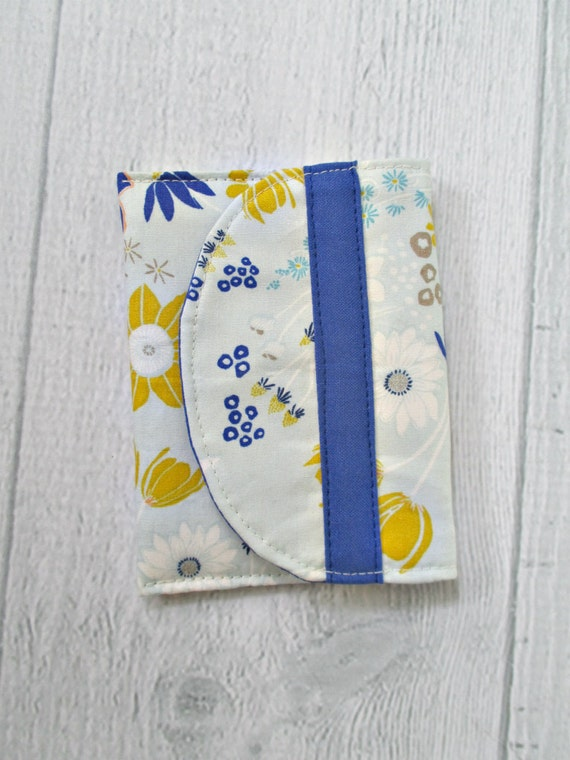 Memory Card Wallet. Wildflower Card Case. Gold and Blue Floral Fabric Mini Wallet. Royal Blue Coin Purse.