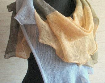 Linen Scarf Shawl Wrap Beige Brown Gray Striped Stole Light