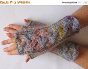Fingerless Gloves Wrist Warmers Mittens Beige Azure Yellow Orange Purple Knit