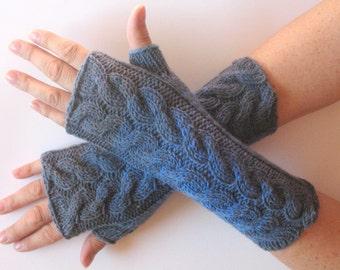 Fingerless Gloves Mittens wrist warmers Blue Gray knit