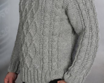 Sweater mens hand knit Gray  XL