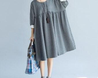 Gray/ black cotton Oversized dress doll long dress