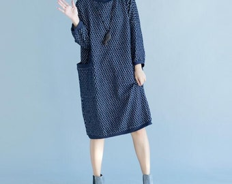 High collar bat sleeve Loose Fitting Cotton dress