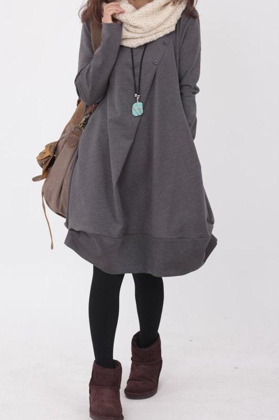 cotton pleated Knee length dress