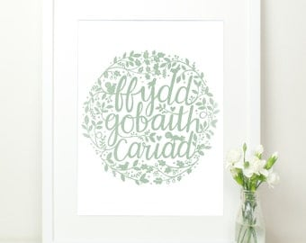 Welsh Print Ffydd Gobaith Cariad. Mint Green with Hand Lettering Flora & Fauna. 12x16. Mint Hand Lettered Print. Faith Hope Love. Welsh Gift