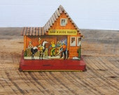 Vintage Tin Litho Bar X Dude Ranch U.S. Metal Toy Mfg Co  Lollipop Roof and Bank