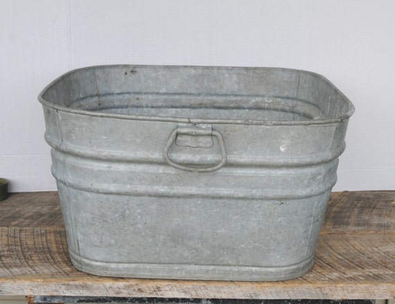 Vintage Square Galvanized Tub Wash Basin Outdoor Planter