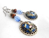Blue,Brown Iris,Freshwater Pearls,Shell/Resin Pendants,Swarovski Crystals,Dangle Earrings,Gift For Her