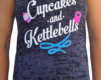 SoRock's Womens Cupcakes and Kettlebells Burnout Tank Top