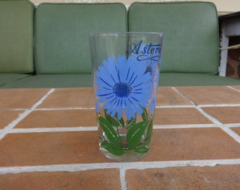 vintage peanut butter glass blue aster flower floral boscul 1950's kitsch retro