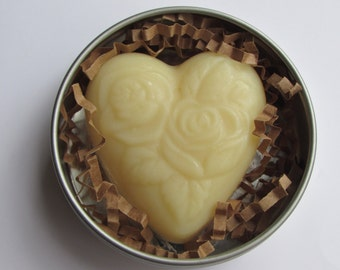 Solid Cocoa Butter Lotion Bar in Tin - Heart