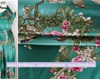 Stretchy Silk Satin Fabric ,jade green pink flower bird fashion design silk supplies