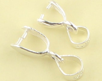 5pcs 12mm x 5mm / 15.5mm x 5.3mm 925 sterling silver Pinch Bails Pendant Clasp