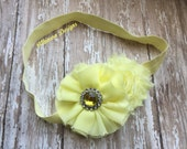 Light Yellow Chiffon and Shabby Flower Headband-Matching Yellow Elastic -Newborn/Infant/Toddler/Adult- Easter Headband- Yellow Headband