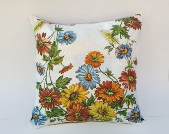 Floral Accent Throw Pillow Cover, Blue, Yellow and Orange Flowers 16 Inch Square Upcycled 16 X 16
