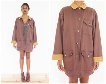 90s Washed Brown Cotton Utility Jacket