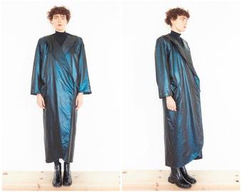 70s/80s Emanuel UNGARO Iridescent Metallic Blue Coat / NEW w/ Tag