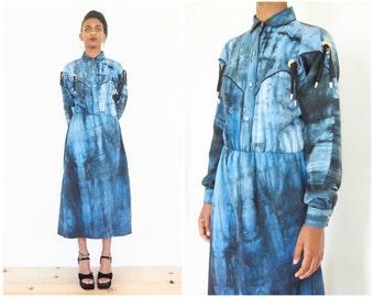 80s Avant Garde Tie Dye Western Shirt Dress