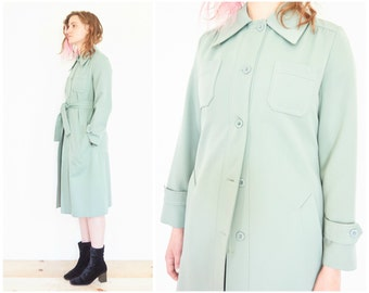 70s Mint Green Belted Raincoat Jacket / Size Small-Medium