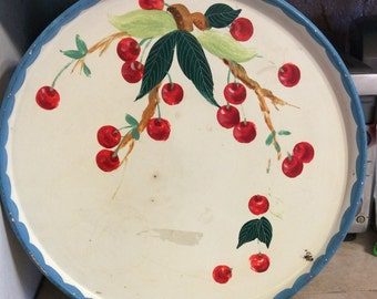 "Vintage 14""  round tole tray with painted cherries"