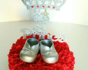 Royal Centerpiece, royal celebration, red and silver, its a boy, its a prince, little prince, set of 2