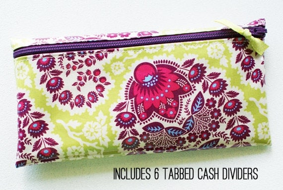 Fabric money envelope wallet with dividers | green, purple paisley designer laminated cotton