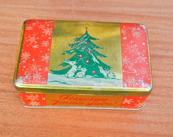 Happy New Year Vintage Soviet Russian tin box from sweets.