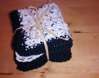 "Set of 3 Handmade Crochet Dish / Wash Cloths 100 % cotton 8""x8"" speckled, speckled w / black trim, black ."
