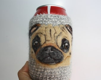 Pug can cozy  Needle felted
