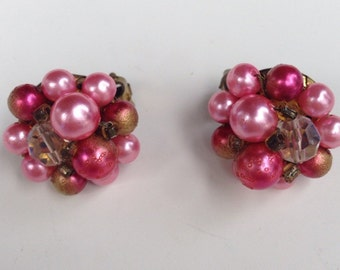 Shades of Pink & Gold cluster earrings